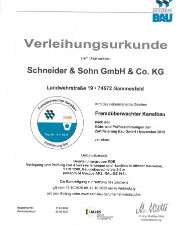 Zertifikat Fremdübewachter Kanalbau